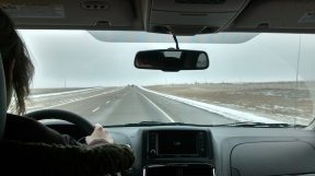 Katherine at the wheel en route to Regina.