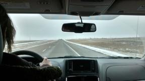 Katherine at the wheel en route to Regina.